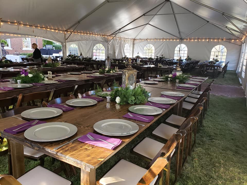 wedding tent and farm tables